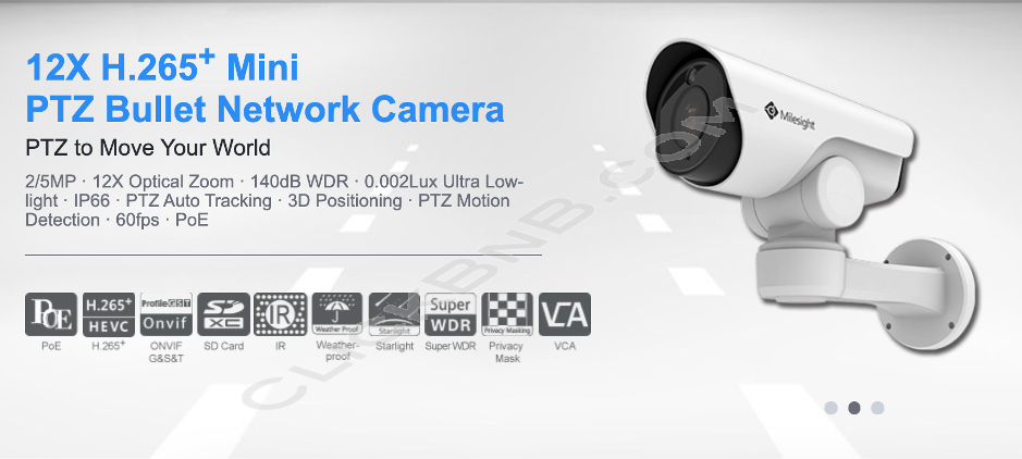 Milesight MS-C2961-EPB - 2MP 12X H.265+ Mini PTZ Bullet Network IP Camera