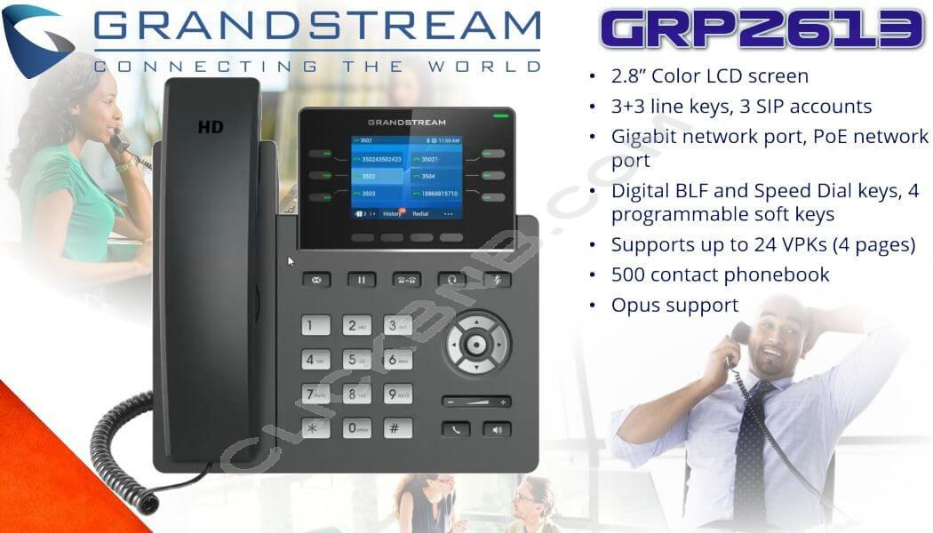 Grandstream GRP2613 - 3 Line Carrier Grade - IP Phone [PoE & Gigabit]