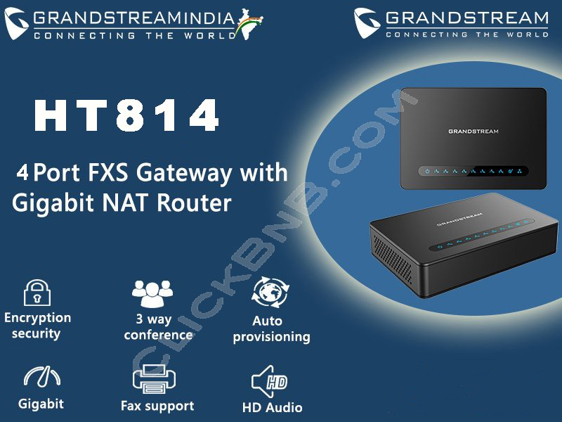 Grandstream - HT814 - 4FXS VoIP Gateway with Gigabit NAT Router