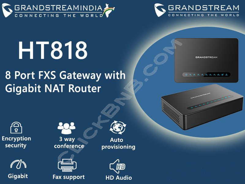 Grandstream - HT818 - 8FXS VoIP Gateway with Gigabit NAT Router