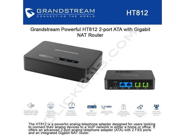 Grandstream - HT812 - 2FXS ATA with Dual Gigabit NAT Router