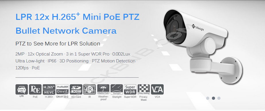 Milesight MS-C2961-RELPB - 2MP LPR 12X H.265+ Mini PTZ Bullet Network IP Camera