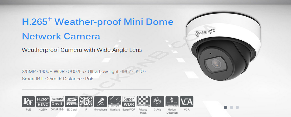 Milesight MS-C2975-PB - 2MP H.265+ Weather Proof Mini Dome Network IP Camera