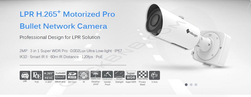 Milesight MS-C2962-RFLPB - 2MP LPR H.265+ Motorized Pro Bullet Network IP Camera