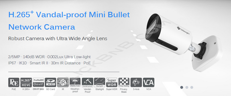 Milesight MS-C2964-PB - 2MP H.265+ Vandal Proof Mini Bullet Network IP Camera