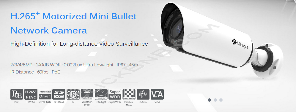Milesight MS-C2963-FPB - 2MP H.265+ Motorized Mini Bullet Network IP Camera